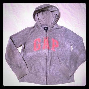GAP Gray & Pink Sequined Hoodie Zipper Jacket XXL